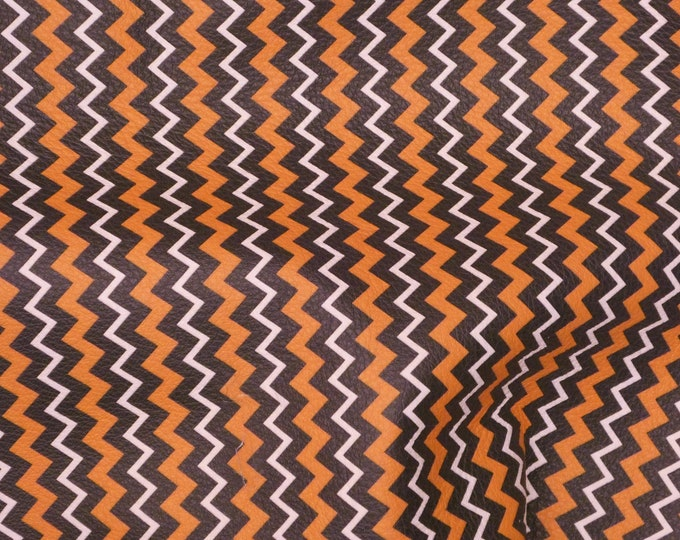 """Halloween Leather 12""""x12"""" ZIGZAG Orange Black White Cowhide 2.75-3 oz/1.1-1.2 mm PeggySueAlso™ E4601-07 perfect for earrings"""
