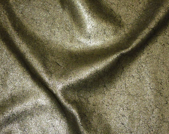 Metallic Leather 3 - 5 sq ft  Vintage Crackle PLATINUM  On BLACK Calfskin 3-3.5oz / 1.2-1.4mm PeggySueAlso™ E2844-11