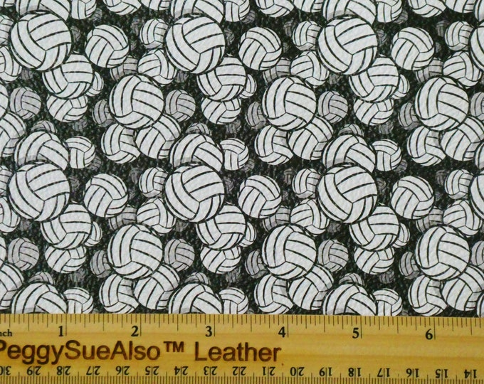"Leather 8""X10"" VOLLEYBALLS on BLACK cowhide 2.5-3 oz / 1-1.2 mm PeggySueAlso™ E1233-02"