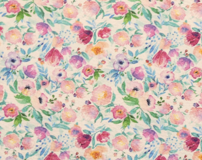 """NEW Leather 12""""x12"""" Mini Pink Turquoise Watercolor FLOWERS cowhide 3-3.25oz /1.2-1.3 mm PeggySueAlso™ E1675-01"""