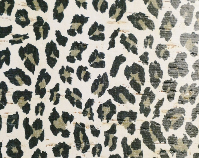 ReSTOCKED 3 or 4 or 5 or 6 sq ft CORK GRAY Kiss LEOPARD on White on Cowhide Leather Thick 5oz/2mm PeggySueAlso™ E5610-113 hides available