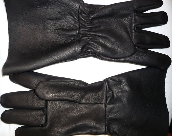 """UNLINED Goatskin Motorcycle Gloves #7998 with a 5"""" Cuff Renaissance SCA Musketeer Sword Black Pirate Leather Larp Made in USA"""