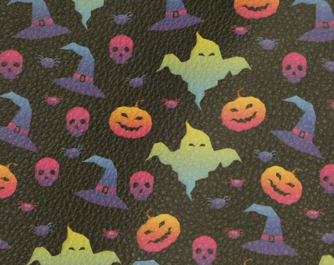 """Halloween Leather 12""""x12"""" Multicolor Ghost Hats Pumpkins Skulls perfect for earrings 2.75-3 oz/1.1-1.2 mm PeggySueAlso™ E4601-03"""