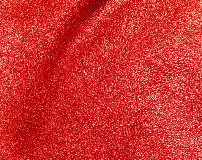 """RED Pebbled Metallic 12""""x12"""" SOFT - shows the grain - Leather 3-3.25oz/1.2-1.3mm Choose Shinier or Original PeggySueAlso™ E4100-06 Hides too"""
