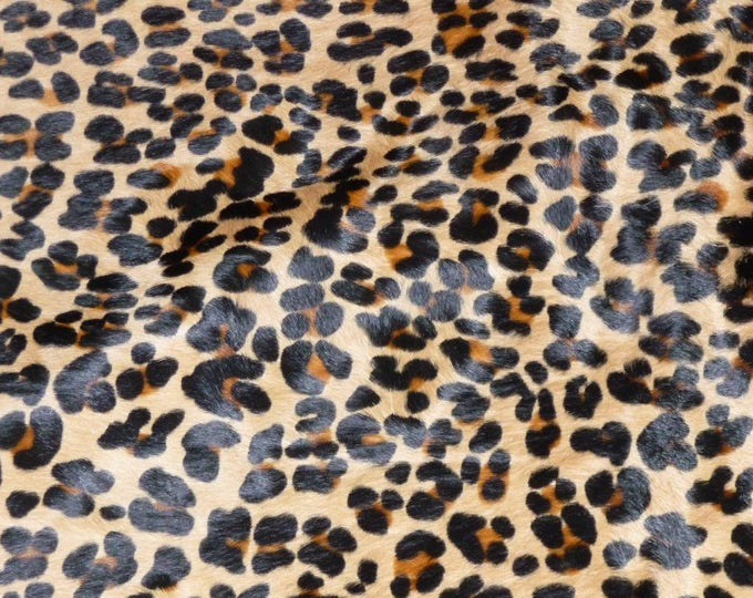 "Hair On Leather 20""x20"" New Version Leopard CAMEL BLACK and BROWN Soft Cowhide 4.5-5oz / 1.8-2 mm PeggySueAlso™ E2851-01 hides available"