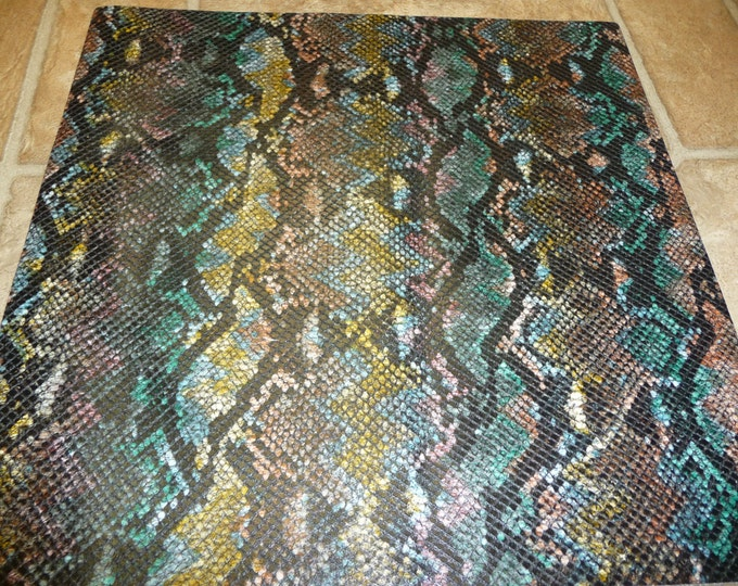 """8""""x10""""  Rainbow Python Snake embossed Leather Cowhide 2.5 oz / 1 mm thickness PeggySueAlso E2855"""