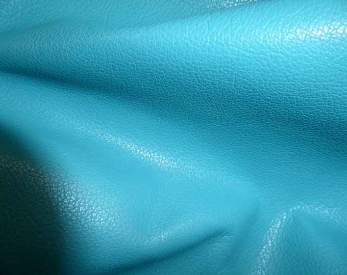 """Leather 12""""x24"""" DIVINE True Turquoise top grain Cowhide  2-2.5 oz / .8-1 mm PeggySueAlso™  E2885-17 Hides Available"""