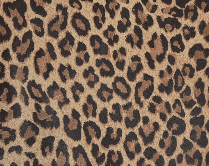 """NeW Version Leather 12""""x12"""" WOOD BROWN Mini Cheetah / Leopard Print SUEDE Leather Cowhide 2.5oz/1mm PeggySueAlso™ E6730-03"""