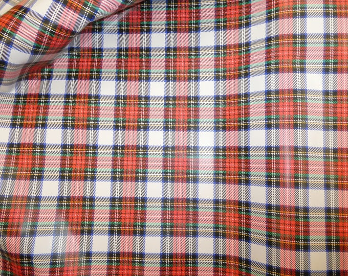 """Leather 12""""x12"""" PEBBLED Tartan Plaid Print on White Red Navy Green Cowhide 2.5-3oz /1-1.2mm PeggySueAlso™ E2176-12"""