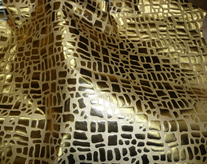 """Metallic Leather 8""""x10"""" Cobblestone / Giraffe GOLD Foil Embossed Cowhide 1.5-2 oz / 0.7-0.8 mm PeggySueAlso™ E2095-01 Limited"""