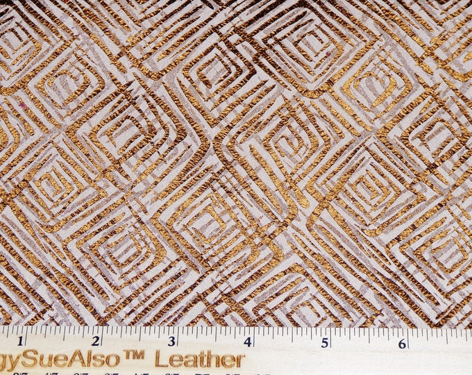 """Leather 8""""x10"""" Retro Squares Abstract ROSE GOLD METALLIC on Tan cowhide (smooth on back) 2.5 oz/1 mm PeggySueAlso™ E4800-02 trial"""