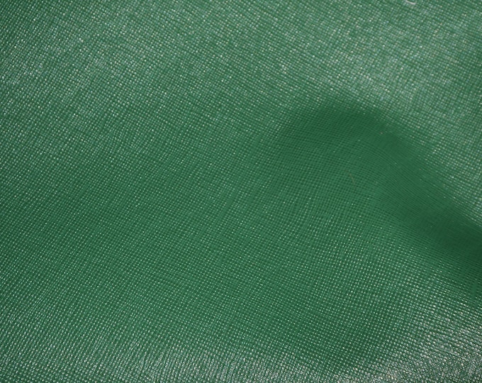 "Leather 12""x20"", 14""x17"" or? Saffiano SHAMROCK Forest GREEN Weave Embossed Cowhide 2.5-3 oz/ 1-1.2 mm PeggySueAlso™ E8201-23 hides too"