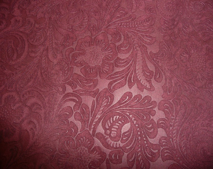 """Suede Leather 8""""x10"""" Etched Daisy MAROON / Burgundy Floral Pressed Embossed SOFT Cowhide 3.5 oz / 1.4 mm PeggySueAlso™ E2875-03"""