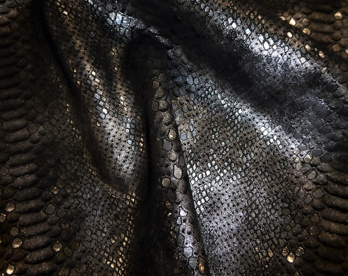 "New Metallic Leather 8""x10""  Mystic Python Multi SILVER on BLACK thick Calfskin 4.25oz / 1.8mm PeggySueAlso™ E2868-48"