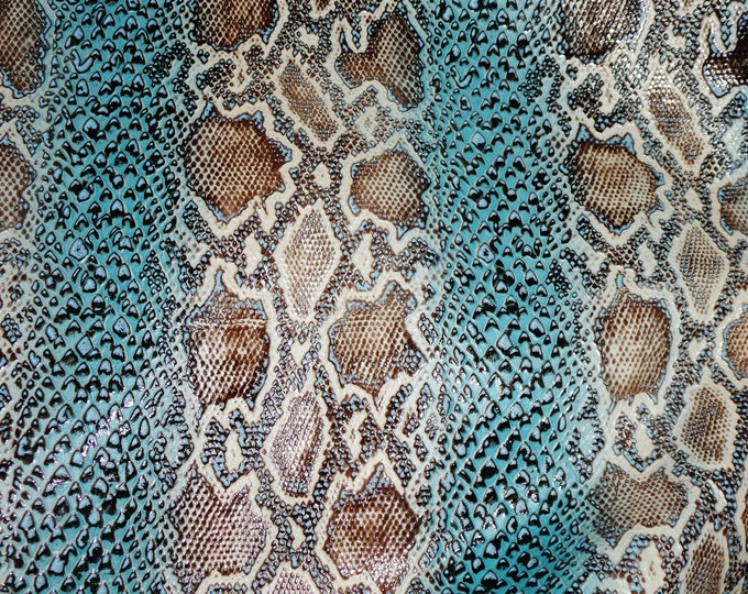 "Leather 12""x20""+ PYTHON Snake TURQUOISE and MOCHA Cowhide 2.5-3 oz /1-1.2 mm PeggySueAlso™ E1559-01 Hides Available"
