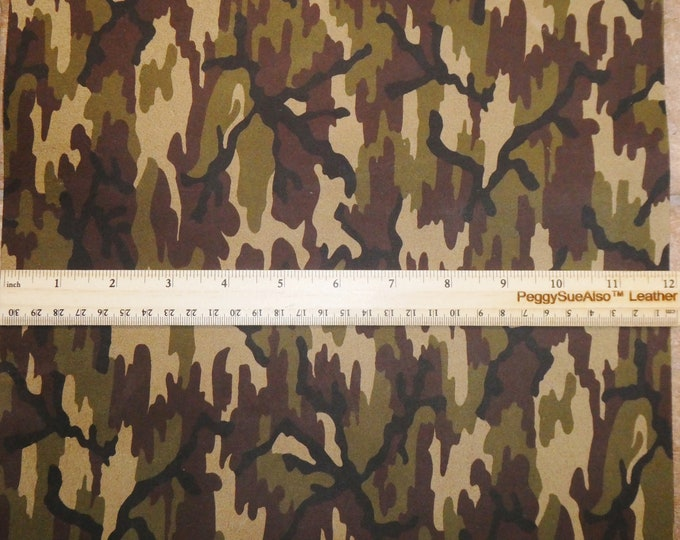 NeW Dye Lot Suede leather 3+ sqft  DISTRESSED CAMO Khaki Black Olive Tan (NOT nice Backside) 3 oz / 1.2 mm PeggySueAlso™ E2030-18 Hides too