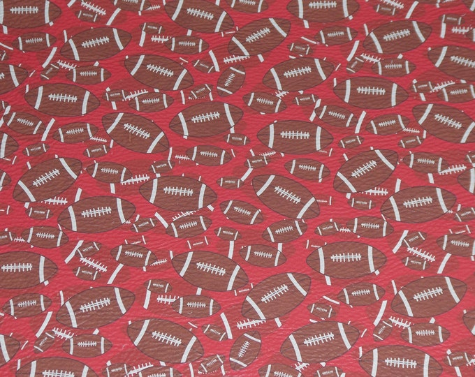 """Leather 8""""x10"""" FOOTBALLS on RED cowhide 2.5-3 oz / 1-1.2 mm PeggySueAlso™ E1230-03 full hides available"""
