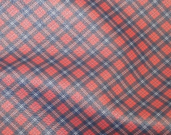 """ReSTOCKED Leather 8""""x10"""" NAVY TARTAN PLAID Print Red background white stripe Cowhide 3-3.5 oz / 1.2-1.4 mm PeggySueAlso™ E2178-04"""
