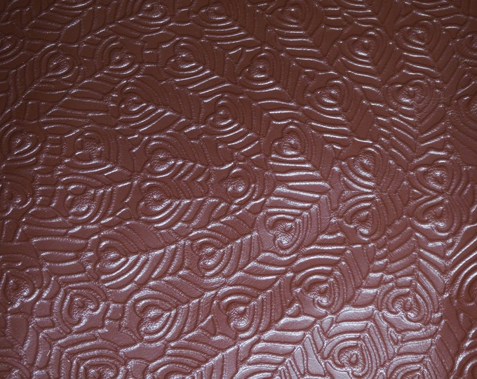 "Leather 12""x12"" PEACOCK FEATHERS Brandy Chocolate Brown  Print Soft Grain (Now on Cowhide) 3 oz / 1.2 mm PeggySueAlso™ E6765-01"