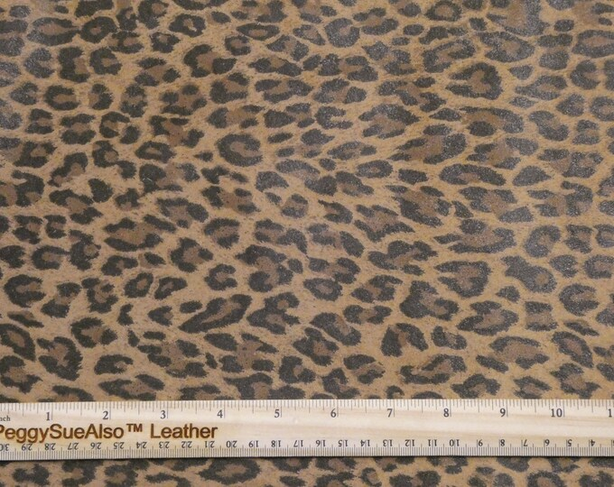 ReSTOCKED SUEDE 3-4-5 or 6 sq ft MUSTARD BROWN Mini Cheetah / Leopard Print Suede Leather 2.5-3oz/1-1.2 mm PeggySueAlso™ E6730-04 hides too