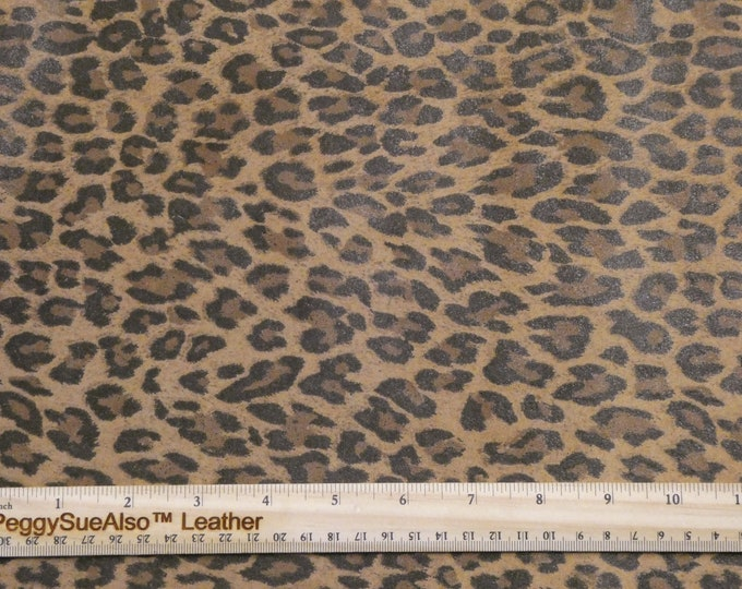 """ReSTOCKED SUEDE 12""""x12"""" MUSTARD BROWN Mini Cheetah / Leopard Print Suede Leather 2.5-3oz/1-1.2 mm PeggySueAlso™ E6730-04 Hides too"""