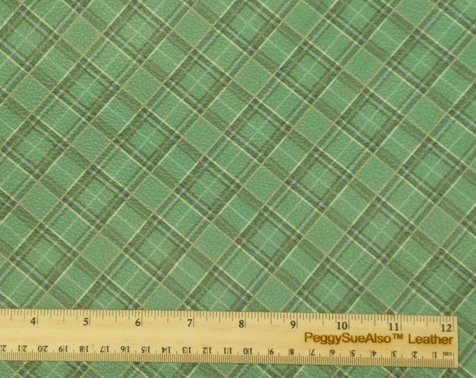 "NeW Leather 12""x12"" IRISH SEA GREEN Tartan Plaid Print Cowhide 3-3.5 oz / 1.2-1.4 mm PeggySueAlso™ E2178-07"