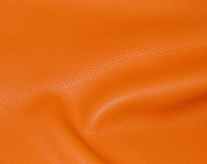 "Leather 8""X10"" Imperial PUMPKIN BRIGHT ORANGE Fully Finished Pebble Grain Thick yet soft Italian Cowhide 3.75-4oz/1.5-1.6mm E3205-17"