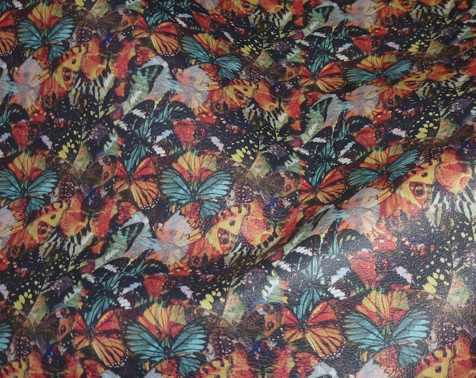 """Leather 5""""x11"""" NAPA Butterfly Print Cowhide 2.5 oz / 1 mm #907 PeggySueAlso™ E6520-01"""