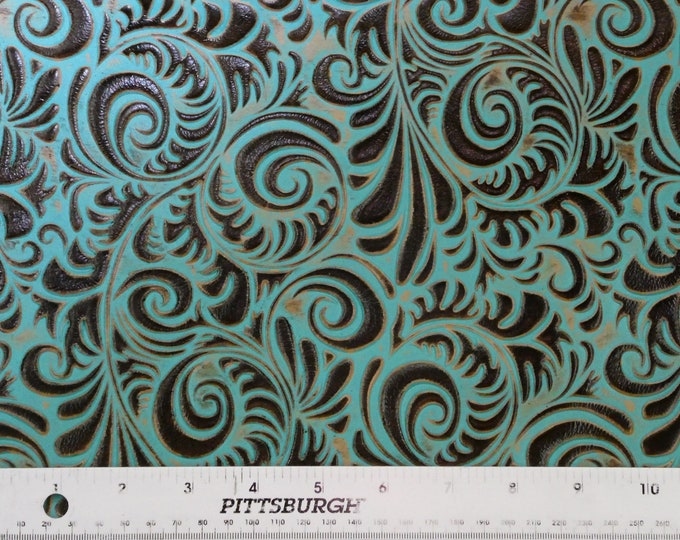 "Leather 12""x20"", 15""x15""... Western Spiral TURQUOISE and BROWN Embossed Cowhide 3-3.5 oz/ 1.2-1.4 mm PeggySueAlso™ E3838-03 Hides Available"