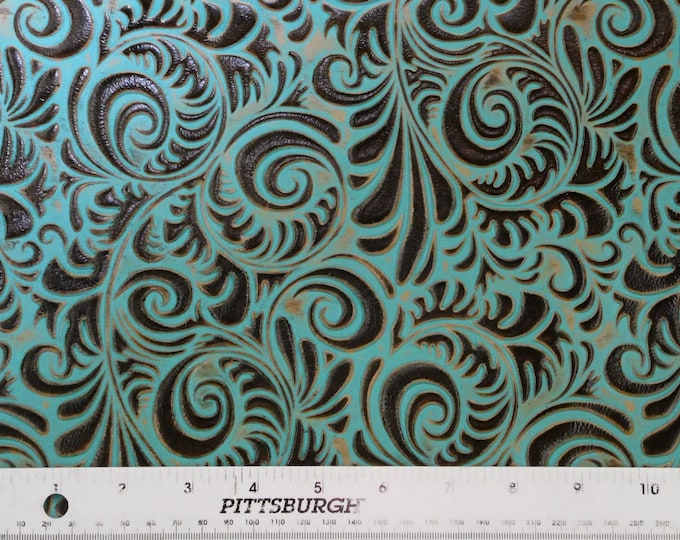 "Leather 8""x10"" Western Spiral TURQUOISE and BROWN Embossed Cowhide 3-3.5 oz/ 1.2-1.4 mm PeggySueAlso™ E3838-03 Hides Available"