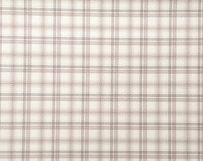 "NeW Leather 8""x10"" Tartan Plaid Print TAN BROWN and TAUPE on White Cowhide 3-3.5 oz / 1.2-1.4 mm PeggySueAlso™ E1181-05 Hides available"