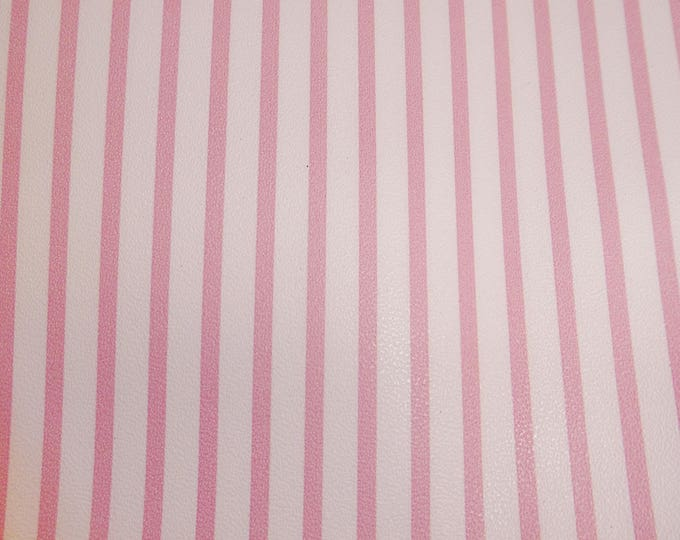 """Leather 12""""x12"""" PINK CANDY STRIPE ptr stripes on White Medium firm - not real soft Cowhide 2.5-3oz/1-1.2mm PeggySueAlso™ E3097-05 hides too"""