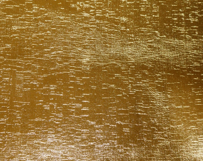 """12""""x12"""" GOLD METALLIC applied to CoRK on Cowhide Leather 4 body/strength Thick 5oz/2mm PeggySueAlso™ E5610-98"""