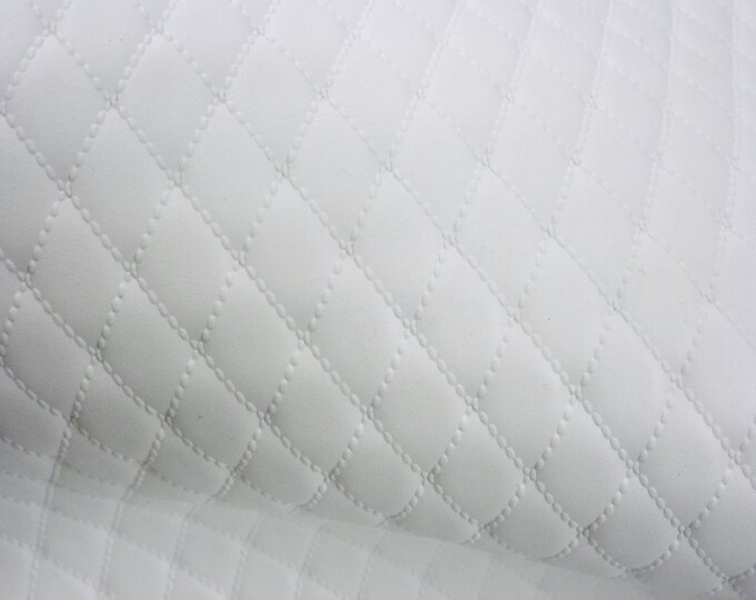 """Leather CLOSEOUT 6 Pack 4""""x6"""" Quilted WHITE 1/2"""" Pattern Cow hide 2.25-2.75 oz / 0.9-1.1 mm PeggySueAlso™ E2911-03"""