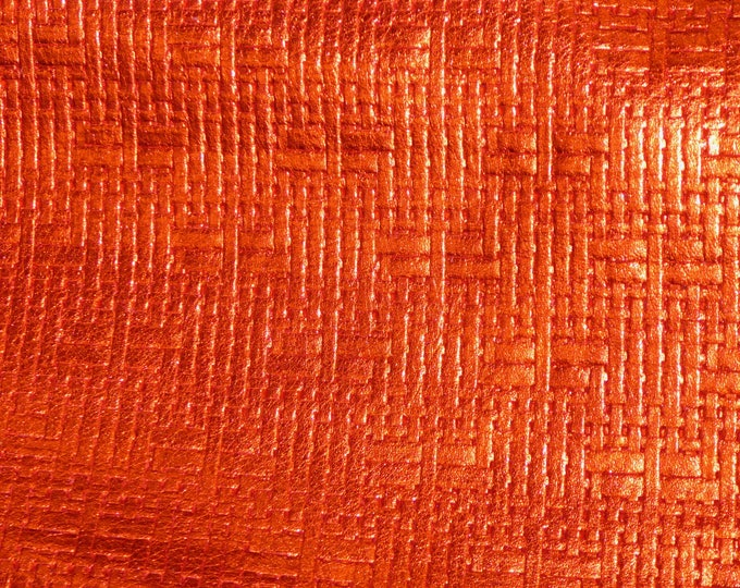 """Leather 8""""x10"""" Panama Metallic LOBSTER ORANGE Soft BASKET Weave Embossed Cowhide 2-2.5 oz/0.8-1 mm PeggySueAlso™ E8000-16"""