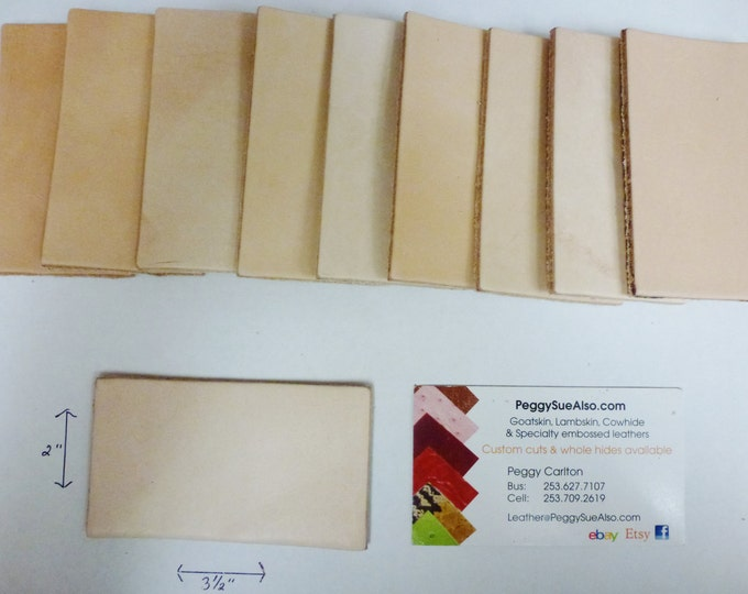 """ON SALE Leather 10 pieces of 2""""x3.5"""" Credit card size THICK Firm veg tan Natural Vegetable Tanned tooling Cowhide PeggySueAlso™"""