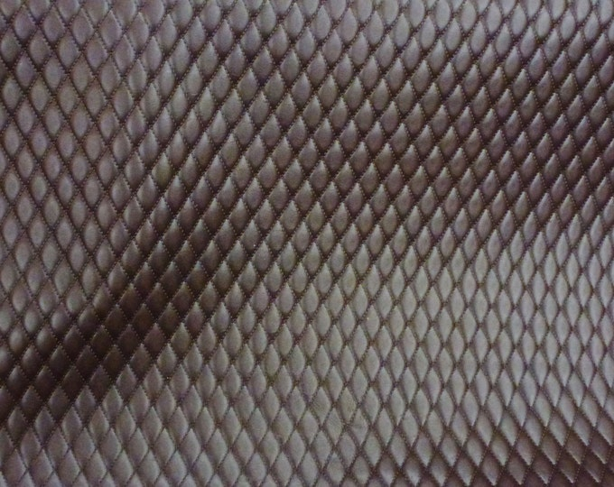 """Leather 5""""x11"""" Quilted BROWN 1/2"""" Pattern Cowhide 2.25-2.75 oz / 0.9-1.1 mm #435 PeggySueAlso™ E2911-02"""