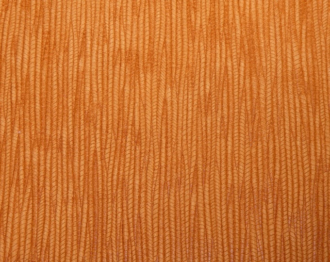 "Leather 8""x10"" Light BURNT ORANGE Palm Leaf Cowhide 3-3.25 oz / 1.2-1.3 mm PeggySueAlso™ E3171-16 Hides Available"
