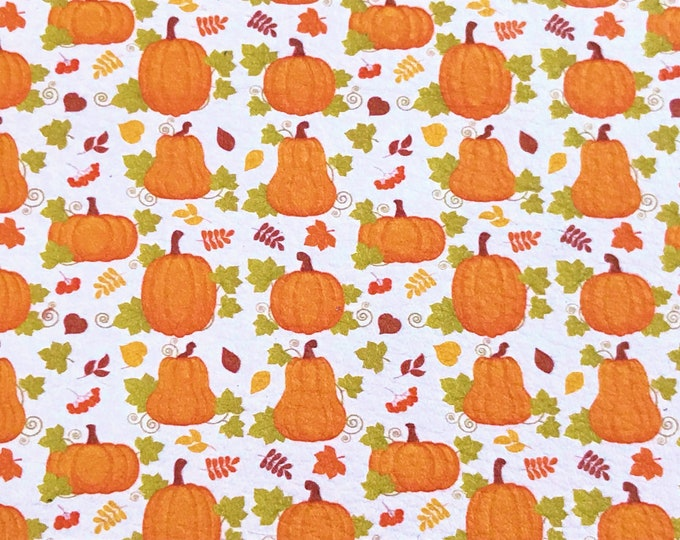 """Leather 12""""x12""""  PUMPKINS 1/2"""" on White Cowhide 2.75-3 oz/1.1-1.2 mm PeggySueAlso™ E1375-01"""