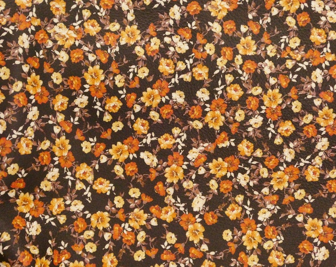 "Leather 8""x10"" Orange Array of Tiny Flowers on Dark Brown Cowhide 2.75-3 oz/1.1-1.2 mm PeggySueAlso™ E4600-03 hides available"