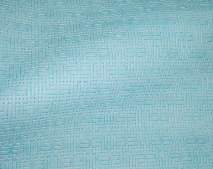 Leather 3-4-5 or 6 sq ft PANAMA Light Robin Egg Mint Basket Weave Cowhide 3-3.25 oz/1.2-1.3 mm PeggySueAlso™ E8000-07 hides too