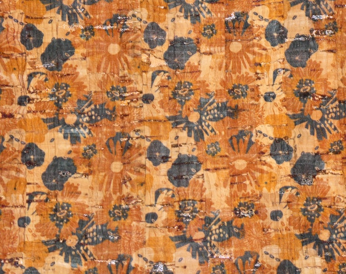 """Cork 12""""x12"""" Abstract AUTUMN FLOWERS on NATURAL Cork applied to leather Thick 5.5oz/2.2mm PeggySueAlso™ E5610-179"""