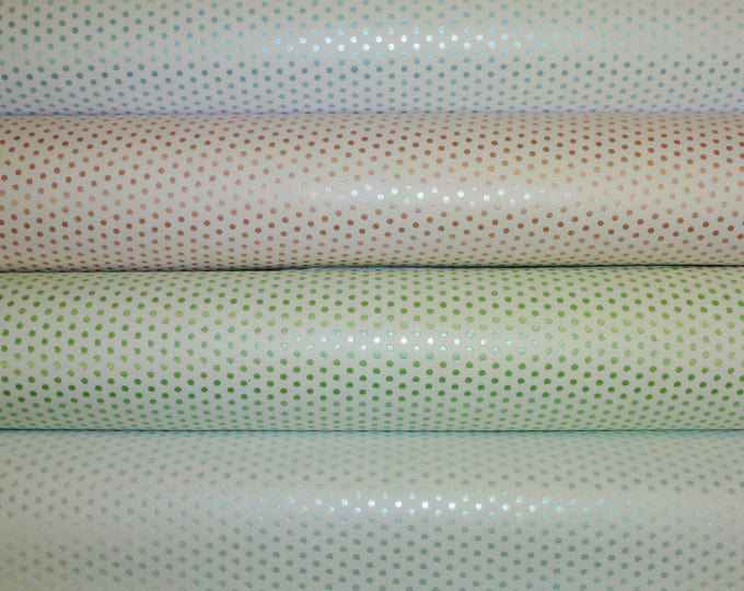 """Leather 8""""x10"""" SMALL PASTEL Polka Dots on WHITE Cowhide 3-3.5 oz / 1.2-1.4 mm PeggySueAlso™ E3455"""