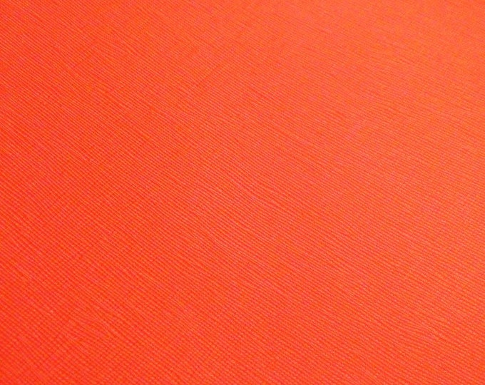 "Leather 12""x12"" Saffiano VIVID ORANGE Weave Embossed Cowhide 2.5-3oz/ 1-1.2mm PeggySueAlso™ E8201-53 hides available"