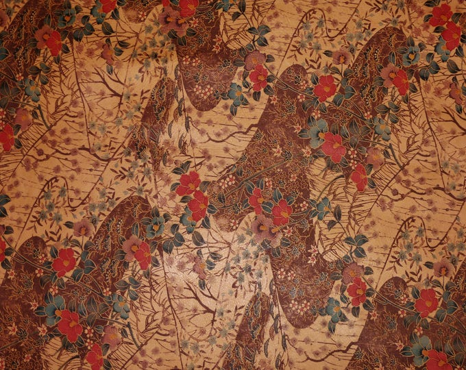 """Leather 12""""x12"""" CHERRY BLOSSOMS on HONEY Cowhide 2.5-3 oz / 1-1.2 mm PeggySueAlso™ E5310-02"""