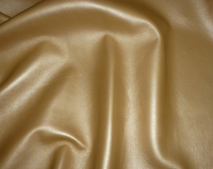 "Leather 12""x12"" Italian Satiny GOLDEN Shimmer Lightly PEARLIZED LAMBSKIN 2.5-2.75oz/1-1.1 mm PeggySueAlso™ E5100-02"