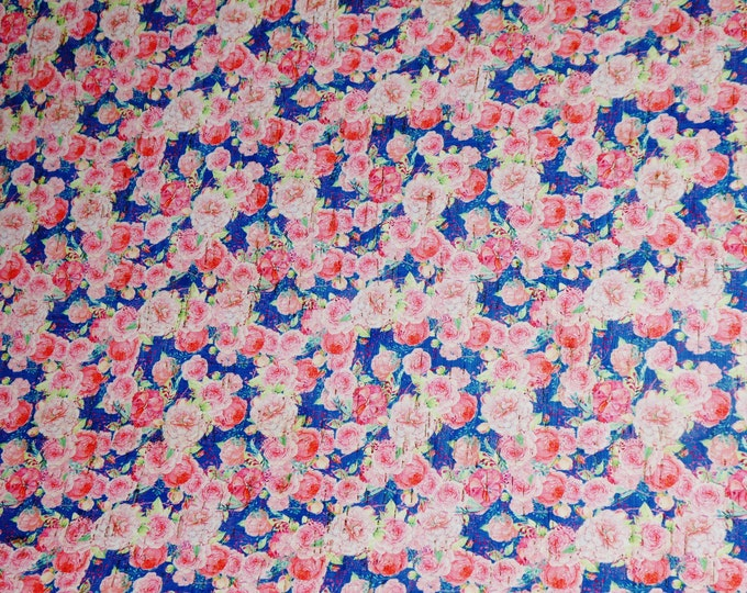 "RESTOCKED 12""x12"" Pink flowers on Navy applied to CoRK on Cowhide Leather for body/strength Thick 5oz/2mm PeggySueAlso™ E5610-45 hides too"