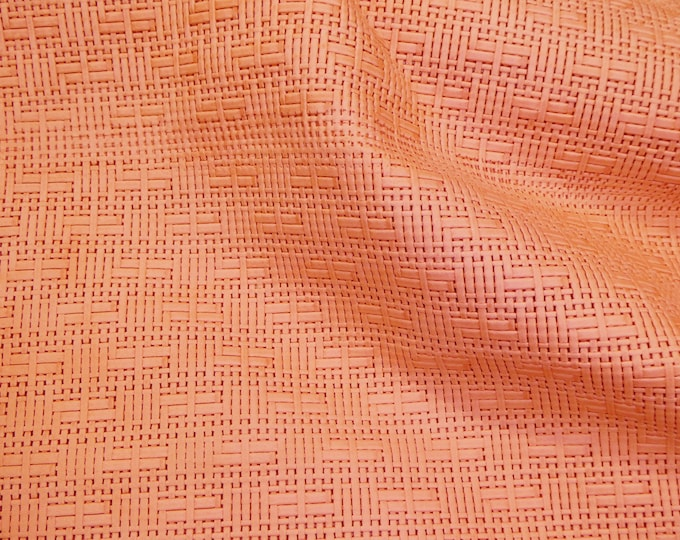 "Leather 5""x11"" Panama SALMON / LIGHT CORAL Basket Weave Embossed Cowhide 2-2.5 oz/ 0.8-1 mm PeggySueAlso™ E8000-14  hides too"
