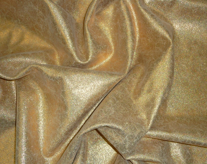 "Leather 12""x12"" Vintage Crackle GOLD HAL0 Iridescent on BEIGE Cowhide 3-3.25 oz / 1.2-1.3 mm PeggySueAlso™ E2844-15"