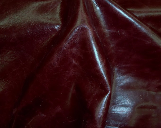 """Leather 12""""x12"""" RIVIERA Pull Up effect MERLOT / BURGUNDY Wine Distressed Aniline Dyed Cowhide 2.5-3oz/1-1.2mm PeggySueAlso™ E2932-14"""